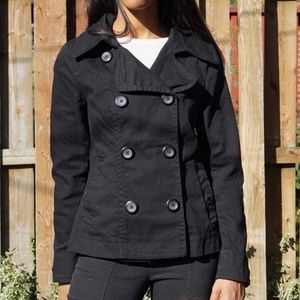 H&M Black Double Breasted Cotton Peacoat Sz 8